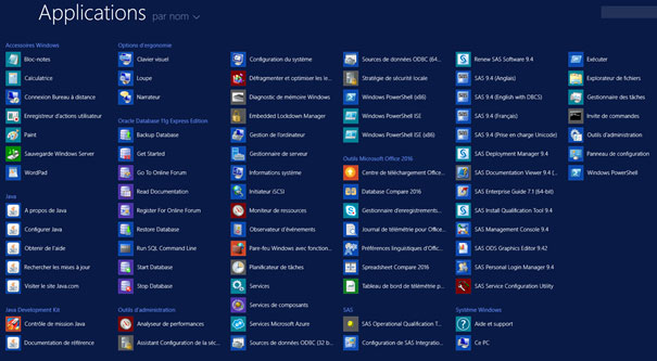 SAS sélection des applications